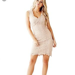 Guess Cap-Sleeve V-Neck Pointelle Dress MSRP $108